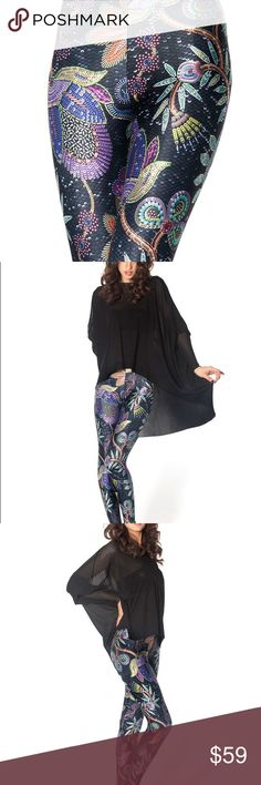 Black Milk Clothing Not Actually Sequin Leggings These leggings look like they're covered in a gorgeous sequin design - but it's actually a printed design! Authentic black Milk, made in Australia. 83% Polyester, 17% Elastane Blackmilk Pants Leggings