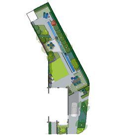 Ontwerptekening voor een strakke smal toelopende hoektuin in Mierlo. (2)