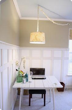 How to install board and batten with these tips from Thrifty Decor Chick! How to install board and batten with these tips from Thrifty Decor Chick! Click The Link For See Bright Office, Wainscoting Styles, Wainscoting Height, Black Wainscoting, Dining Room Wainscoting, Wainscoting Nursery, Thrifty Decor Chick, Board And Batten, Decoration
