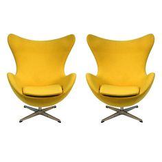 Original Pair Arne Jacobsen Egg Chairs Fritz Hansen  #1stDibs #ScandinavianDesign