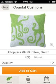 green octopus pillows