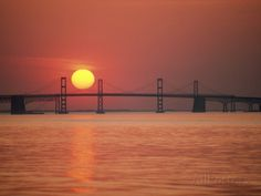 Chesapeake Bay Bridge wall mural | View from the Water of the Chesapeake Bay Bridge and the Setting Sun ...