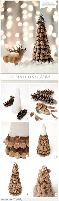 I Fall in Chocolate: DIY PINECONE XMAS TREE na Stylowi.pl