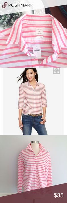 GAP Fitted Boyfriend Shirt Pink Stripe NWT Sz. XS. Classic pink stripe, super cute layered up! Brand new with tags. Smoke free, clean home. GAP Tops Button Down Shirts