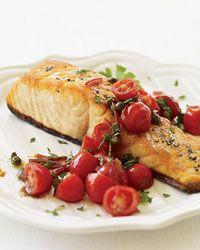 Pan-Roasted Salmon with Tomato Vinaigrette Recipe on Food & Wine