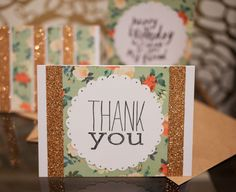 Set of three greeting cards. Thank you card. by pumpkinpoptart