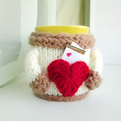 Cup Cover with Pocket for a Note of Love - Coffee Tea Mug Cover Cup Cozy Sleeve - Hand Knit Funny milky Cozy Coffee Before Talkie Cozy Cover (10.00 USD) by mymomsshop1