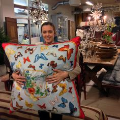Last Pillow delivered to Garbo Interiors that I made by vintage Hermès scarves. Here cherished by the shop assistant Sofia.