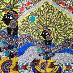 Krishna by Archana inspired by Bharati Dayal Traditional Art, Folk Art, Indian Traditional Paintings, India Painting, Madhubani Art, Painting, Fish Painting, Traditional Paintings, Madhubani Painting