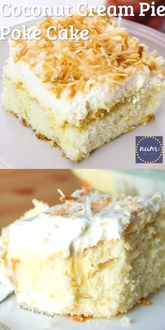 *VIDEO* Coconut Cream Pie Poke cake is a traditional cake topped with my favorite old fashioned coconut cream pie filling, whipped cream and toasted coconut. The best of both worlds! Coconut Poke Cakes, Coconut Desserts, Coconut Recipes, Just Desserts, Baking Recipes, Coconut Cream Cakes, Coconut Cheesecake, Easy Coconut Cream Pie, Coconut Cream Dessert