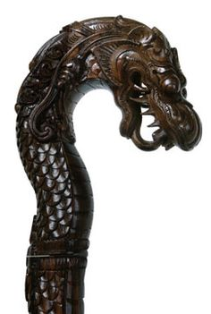 wood carving canes | Stained Wood Carved Dragon Cane for Walking