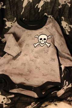 Grey and Black Skull baby onsie with large by ApocalypticCustoms