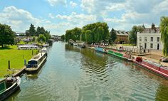 Looking out from Waterside Bridge (otherwise known as Babylon Bridge), towards the Cathedral Marina on the River Great Ouse. In Ely, Cambridgeshire.