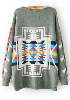 Grey Geometric Print Bat Sleeve Loose Cotton Sweater