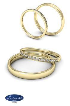 obrączki ślubne z diamentami #złoteobrączki #weddingrings #diamonds #biżuteriaślubna # Bangles, Bracelets, Wedding Inspiration, Women's Fashion, Gold, Jewelry, Art, Art Background, Schmuck