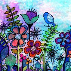 www.robinmeaddesigns.com #bird #flowers #garden