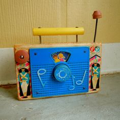 vintage wooden toy radio . 1960s fisher price . jack and jill music box - I had one like this