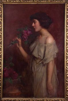 "Viktor Karlovich CHTEMBER (1863-1917) ""Lady with Aster""  Gemälde Öl/Leinwand auf Karton, 104 cm x"