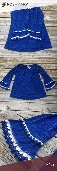 NWT WinWin Blue Double Lace Sleeve Tunic- Large/XL WinWin Tunic  Rich blue tunic with double lace sleeves. New with tags- never worn. Great paired with leggings!   Size large/extra large. Material is 97% polyester, 3% spandex. WinWin Tops Tunics