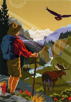 "Prepaid postcard commemorating the anniversary of Parks Canada, the Canadian national park system. From the Postcrossing ""Just Postcards"" group Poster Wall Art, Canadian Art, Illustration, Postcard, Painting, Art, Vintage Posters, National Park Posters, Pictures To Paint"