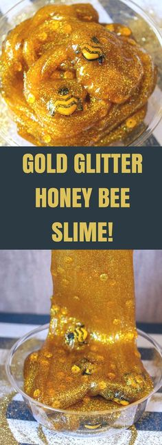 This gold glitter honey bee slime is so much fun for kids to make at home and super easy too! They'll love how realistic the honey slime looks with the cute bees floating around! - Education and lifestyle Bee Crafts For Kids, Toddler Crafts, Fun Crafts, Art For Kids, Bees For Kids, Cool Art Projects, Projects For Kids, Craft Projects, Glitter Slime