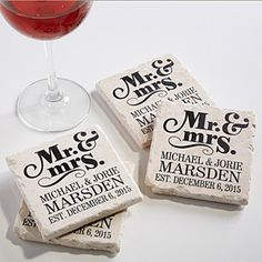 Create lasting Wedding memories with the The Happy Couple Personalized Tumbled Stone Coaster Set. Find the best personalized wedding gifts at PersonalizationMall.com