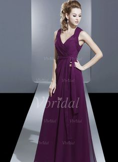 Bridesmaid Dresses - $88.97 - A-Line/Princess V-neck Floor-Length Chiffon Bridesmaid Dress With Ruffle (0075058357)