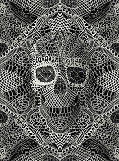 Ali Gulec: Lace Skull – Print from Skull Art Spectacular - (Save Lace Skull, Skull Design, Art Design, Memento Mori, Image Psychedelic, Graphic Art, Graphic Design, Wow Art, Skull Print