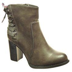 Angkorly - Chaussure Mode Bottine low boots femme lacets Talon haut bloc 8 CM - Intérieur Fourrée - Gris - F1071 T 38 - Chaussures angkorly (*Partner-Link)