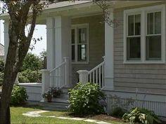 Bungalow Beach style house with aqua grey kitchen cabinets ~ NECN's Dream House: J. Schwartz Design - YouTube