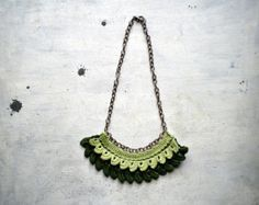 green crochet necklace for woman in  cotton  , Yarn jewelry, crocheted jewerly