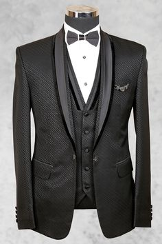 Checkout Tuxedo, wedding suits for men, Black Suit. These designer suits are made of pure quality of Italian fabric. Designer suits come in variety of color. Formal Attire For Men, Formal Suits, Reception Suits, Designer Suits For Men, Designer Tuxedo, Mens Suits Online, Armani Suits, Ethnic Wear Designer, Elegant Man