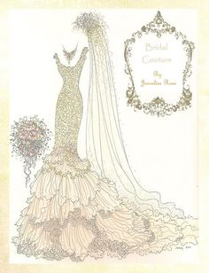 Wedding dress, embroidery