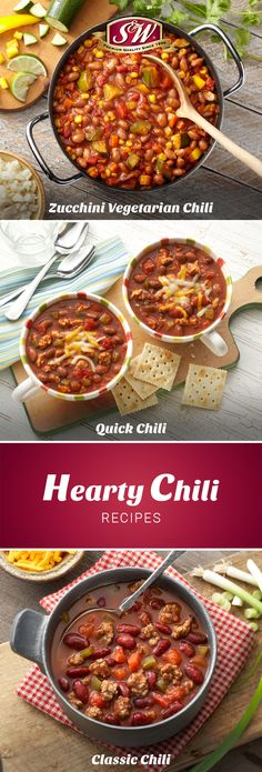 These comforting chili recipes will warm you up and fill you up! Try them for a quick and easy dinner. Hearty Chili Recipe, Chili Recipes, Soup Recipes, Beans Recipes, Easy Bean Recipes, Black Bean Recipes, Chowder Soup, Vegetarian Chili, No Bean Chili