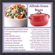 Alfredo Green Beans in the Bean Pot  Need a bean pot?  Click here http://www.celebratinghome.com/sites/naomi/PWPSearchProduct.aspx?KeyWord=Bean%20pot
