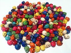 20 Pcs Skull Beads Mixed Colors. $4.00, via Etsy.