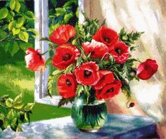 Cheap painting cross stitch, Buy Quality diamond directly from China diamond painting cross stitch Suppliers: DPF Diamond Painting Cross Stitch Red Floral Vase Crystal Needlework Diamond Embroidery Flower Full Diamond Decorative Mosaic Pictures, Canvas Pictures, Diamond Wall, Diamond Cross, Wall Stickers Home Decor, Wall Decor, 5d Diamond Painting, Arte Floral, Floral Theme
