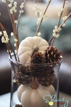 Fall decor~ white pumpkins and pinecones