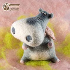 Unusual original toys. Artist Needle Felted OOAK. Hippo Nakota