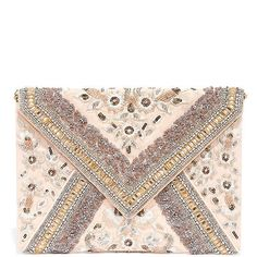 How to Love Blush Pink Beaded Clutch found on Polyvore featuring bags, handbags, clutches, purple, pink envelope clutch, envelope clutch bag, pink purse, lulu handbags and beaded purse