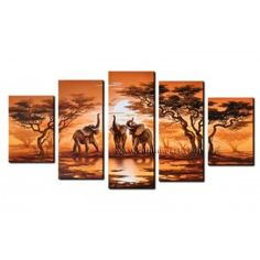 Chinese artwork manufacturer of hand-painted canvas art paintings. African canvas art for home decoration. Modern Oil Painting, Oil Painting On Canvas, Canvas Art, Xiamen, 5 Panel Wall Art, Multi Picture, Hanging Canvas, Elephant Art, Decorating With Pictures