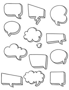 Speech Bubbles Clipart ~ Commercial Use OK by Teacher Karma Bullet Journal Writing, Bullet Journal Headers, Bullet Journal Banner, Bullet Journal Notebook, Bullet Journal Ideas Pages, Bullet Journal Inspiration, Bubbles 3, Note Doodles, Sketch Notes
