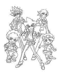 Beyblade team anime coloring pages for kids, printable free