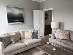 Sitting Room. Farrow and Ball Cornforth White Walls. Jonesy Sofa Loaf. Mark Poprawski Painting 'One too many mornings'