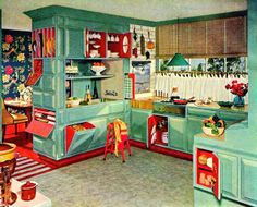 Kitchen Turquoise And Red   Inside Cabinets!