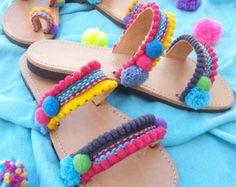 Pom pom Sandals Greek leather sandals Boho by DimitrasWorkshop