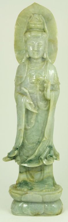 Chinese Qing carved Jadeite Quan Yin figure