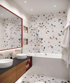 on Behance Bathroom Tile Designs, Bathroom Interior Design, Tiny Bathrooms, Amazing Bathrooms, Pink Kitchen Decor, Beach House Bathroom, Marble Interior, Desk In Living Room, Kitchen Cabinet Remodel