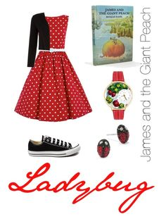 """Ladybug (James and the Giant Peach)"" by evwhite ❤ liked on Polyvore featuring Monsoon, Converse, Whimsical Watches, women's clothing, women, female, woman, misses and juniors"