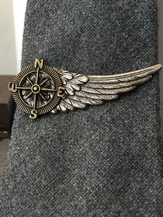 Steampunk Compass Tie Clip Mens Gift Compass Rose Tie Clips